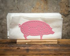 Napkin Holder Pig Laser Cut Metal On A Wooden Paltfrom