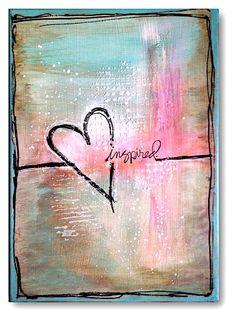 mixed media heart love painting