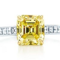 Tiffany & Co. Fancy vivid yellow diamond ring with diamonds in 18k gold and platinum.