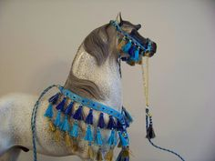CM Breyer or Peter Stone Arabian costume halter presentation set - Egyptian theme - island blue/pale turquoise base with accents in royal blue/lapis, turquoise, gold, and metallic gold on Hartland 9 inch Arabian Stallion