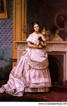 Artist: Gerome Jean-Leon  Title: 'Portrait of a Lady with Cat'  Media: Canvas, oil  Size: 54x36 cm / 21.3x14.2 in  Year of creation: c. 1866-1870  Location: Private collection