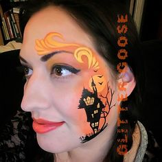 Haunted House by Glitter Goose! Face painting paint art Halloween.