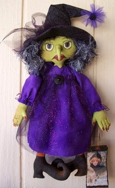 """Scary Mary"" SOLD on Ebay:Primitive Folkart Halloween Witch Art Doll Purple Black Wall Hanging hafair ab4b"