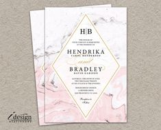Marble Wedding Invitation   Modern Printable Watercolor Marble Invitations In A Pink Black White And Grey Color Scheme by iDesignStationery on Etsy