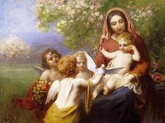 Imre Gergely (1868 – 1914, Hungarian) - Madonna with child with putti