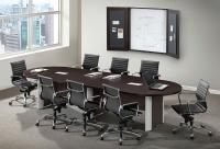 PL Laminate Racetrack Conference Table with Silver Leg Accents