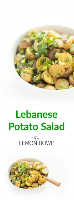 This light and healthy traditional Lebanese potato salad recipe is made with fresh lemon juice, olive oil, scallions and fresh herbs. Tante Paula, Good Healthy Recipes, Vegetarian Recipes, Kitchen Recipes, Cooking Recipes, What's Cooking, Cooking Classes, Tapas, Lemon Potatoes
