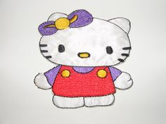 Hello Kitty Embroidered Iron On/ Sew On Patch Applique by LoveLaly