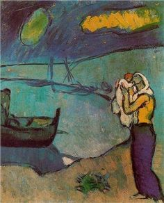 """rjtyler: """" Pablo Picasso (Spanish, Mother and Son on the Shore (Mere et fils sur le rivage), Blue Period. Oil on canvas, x 38 cm. © Estate of Pablo Picasso / Artists Rights Society (ARS), New York """" Art Picasso, Picasso Paintings, Picasso Blue Period, Guernica, Georges Braque, Spanish Painters, Guache, Post Impressionism, Paul Gauguin"""