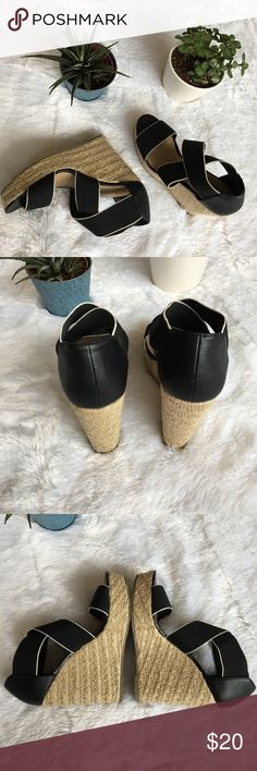 Espadrilles Wedges, Black Strappy Heels ONLY WORN TWICE! Stretchy black straps with white lining. Espadrille style heel. Platform. Stunning and easy to walk in! Shoes Wedges