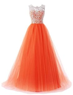 Aurora Bridal 2016 Lace Tulle Aline Bridesmaid Dress Prom Gowns Orange CS >>> You can find out more details at the link of the image.