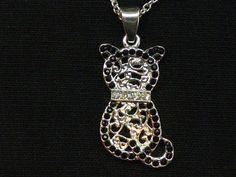 Crystal Cat Kitten women's girls silver plated necklace Pendant Earring Set $8.99