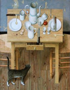 "Kenne Grégoire (Dutch, b. 1951) - ""Cat under table"", 2014 - Acrylic on linen"