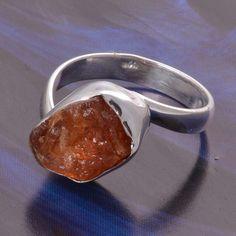 FANTA GARNET ROUGH 925 SOLID STERLING SILVER HOT RING 4.66g DJR4940 #Handmade #Ring