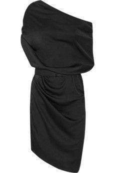 Halston Heritage One-shoulder satin dress