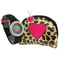 Tikkers Girls Hearts Black & Pink Watch, Necklace & Purse Gift Set ATK1011