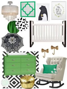 I love the green, black, and white color combination of this nursery. Combined with the gold accents and feminine touches it feels so glamorous and regal.