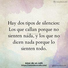 Hay dos tipos de silencios: Los que callan porque no sienten nada, y los que no dicen nada porque lo sienten todo.