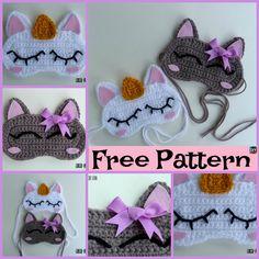 These Crochet Unicorn Sleep Mask designs are really cool! Crochet Shoes Pattern, Crochet Jewelry Patterns, Knitting Patterns, Crochet Shawl Free, Knit Crochet, Crochet Crafts, Crochet Projects, Unicorn Mask, Ombre Yarn