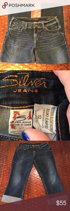 """Silver Jean Co Suki Capri Size 32 Silver Jean Co """"Suki"""" Capri Size 32. These Capris have a 25 1/2"""" inseam. They are in excellent condition with no signs of wear. Comes from a Smoke Free/Pet Friendly home. Any questions, just ask. Offers always welcome. Silver Jeans Jeans Ankle & Cropped"""