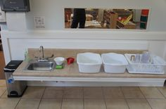Set up for the children to wash their dishes after snack and lunch.  #montessori north