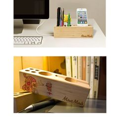 Amazon.com : Docooler Wood Beech Multifunctional Desktop Organizer Storage Holder for iPhone Stationery Pin : Office Desk Organizers : Office Products