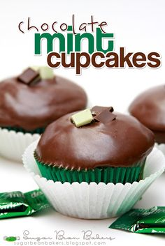 Chocolate Cupcakes topped with a Chocolate Mint Glaze (made from Andes). Minty St. Patrick's Day goodness (or any day!).