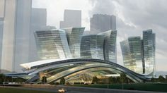 The West Kowloon Terminus in Hong Kong by Aedas is 45 m high volume that rises from the ground with views of the Hong Kong Central skyline.