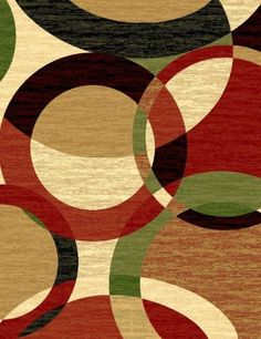 Modern Gray Area Rug Black White Red Circle Swirls