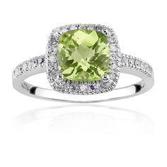Peridot Gemstone Ring with Diamond Halo in 10K White Gold