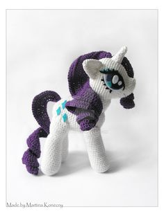"My first Amigurumi-Pony-Plushie.... High: 20,5 cm, Width: 16 cm Materials: 50g/200m wool, 2,5mm hook, felt for the eyes Forehead and nose were made by ""CuriousPony""- Pattern. I changed the back of ..."