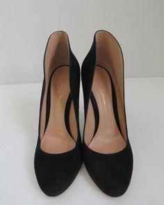 Gianvito Rossi Black Suede High Back Heels/Shoes Size 39 #GianvitoRossi #Heels