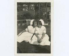 Nurse Besties c1940s  Vintage Snapshot Photo by RetroGraphique
