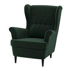 IKEA - STRANDMON, Sillón orejero, Djuparp verde oscuro, , El respaldo alto de esta silla te ofrece un apoyo óptimo para el cuello y, por tanto, favorece el relax.10 años de garantía. Consulta las condiciones en el folleto de garantía.
