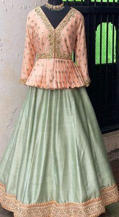 Party Wear Indian Dresses, Party Wear Lehenga, Indian Gowns Dresses, Peplum Top Outfits, Red Peplum Dresses, Peplum Blouse, Fancy Dress Design, Frock Design, Bridal Blouse Designs