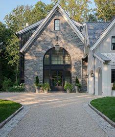 Instagram Roundup: Inspiring Exteriors - greige design Stone Exterior Houses, House Paint Exterior, Exterior Paint Colors, Exterior House Colors, Paint Colors For Home, Exterior Design, Exterior Doors, Exterior Remodel, Ranch Exterior