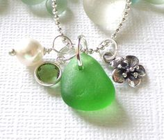 Flower Sea Glass Charm Necklace by GardenLeafSeaside on Etsy