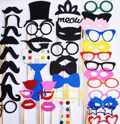 Photo booth props / Wedding photo booth prop / Birthday Party / Bridal Shower photo booth prop set/ Bachelorette party / Wedding Party. $49.99, via Etsy.