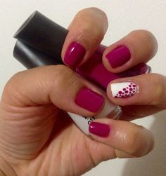 Fucsia In and White In Nails
