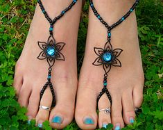 Silver and Crystal Flower Barefoot Sandals Foot by HouseOfBlaise