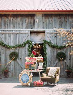 Green swags for a barn wedding Rustic Wedding Attire, Rustic Wedding Seating, Rustic Chic, Rustic Barn, Barn Wedding Inspiration, Wedding Ideas, Wedding Show, Wedding Things, Dream Wedding