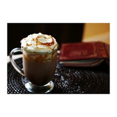 Salted Caramel Hot Chocolate Recipe ❤ liked on Polyvore featuring food, backgrounds, drinks, pictures e comida