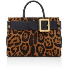 Bally Leather-Paneled Leopard-Print Calf Hair Shoulder Bag