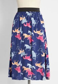 New Arrival Dresses and Clothing for Women | ModCloth Equestrian Outfits, Equestrian Style, New Arrival Dress, Horse Print, Novelty Print, Cute Skirts, Printed Skirts, Blue Backgrounds