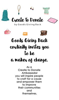 Goods Giving Back wants you to craft for a cause and become a Create To Donate ambassador to get even more people involved in making an impact in their communities through their creativity and crafting.