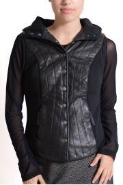 CIGNO NERO PICCOLA-Leather Hoodie Vest