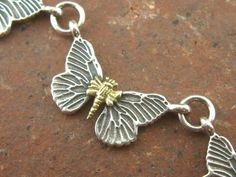Lagos Caviar Butterfly Sterling Silver 925 18k Yellow Gold Necklace (28g) 16.5in