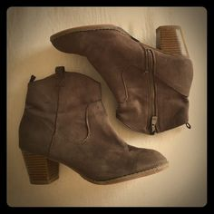 GAP booties Boho style GAP booties. Dark brown color. Previously loved and price reflects as such. Brand new sole and heel protectors on both shoes for longer wear. GAP Shoes Heeled Boots