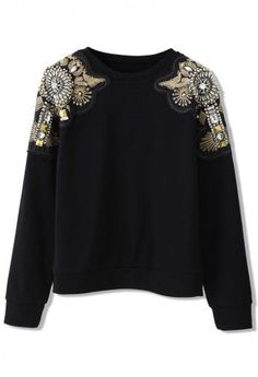 Crystal Beads Embellished Shoulder Sweat Top - Tops - Retro, Indie and Unique Fashion Unique Fashion, Look Fashion, Womens Fashion, Fashion Hub, Fashion Ideas, Hippie Style, Moda Formal, Diy Mode, Extreme Metal