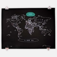 Create a wall-mounted chalk board and draw the map of the world on it by hand in permanent paint, then fill in country names with chalk to learn world geography, chart events, travels etc. Image credit: Places on Earth Limited Map by Oliver Jeffers on Fab.com